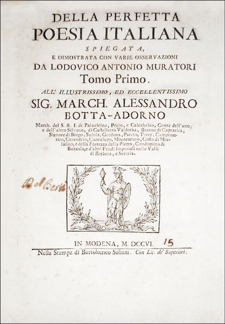 [Poetry] Muratori, Della perfetta poesia italiana, 1706