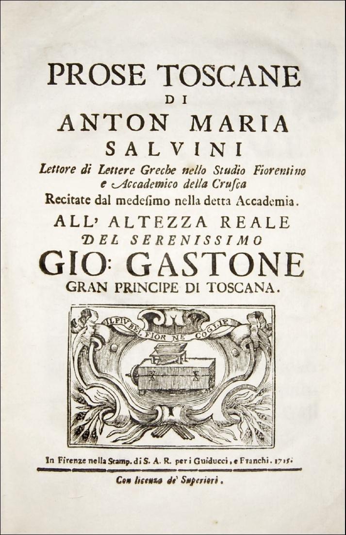 [Prose, Tuscany] Salvini, Prose toscane, 1715