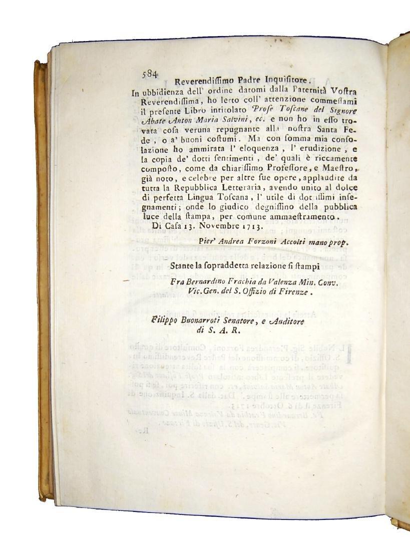 [Prose, Tuscany] Salvini, Prose toscane, 1715 - 6