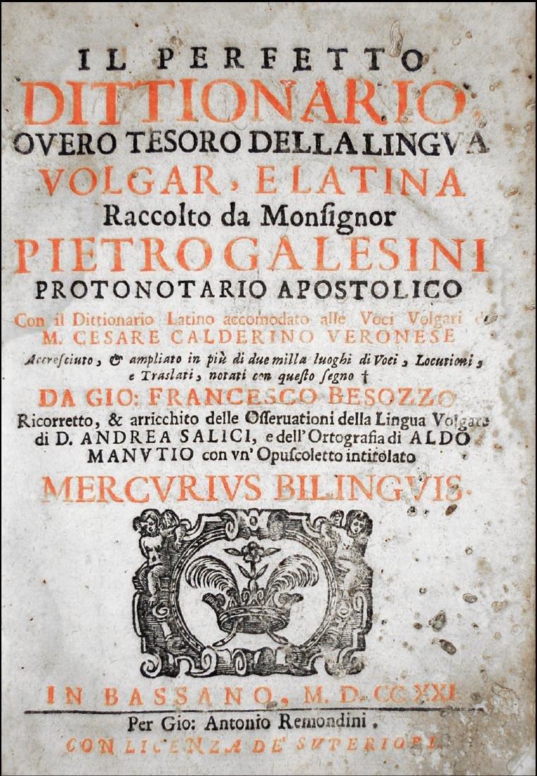 [Dictionaries] Galesini, Il Perfetto dittionario, 1721