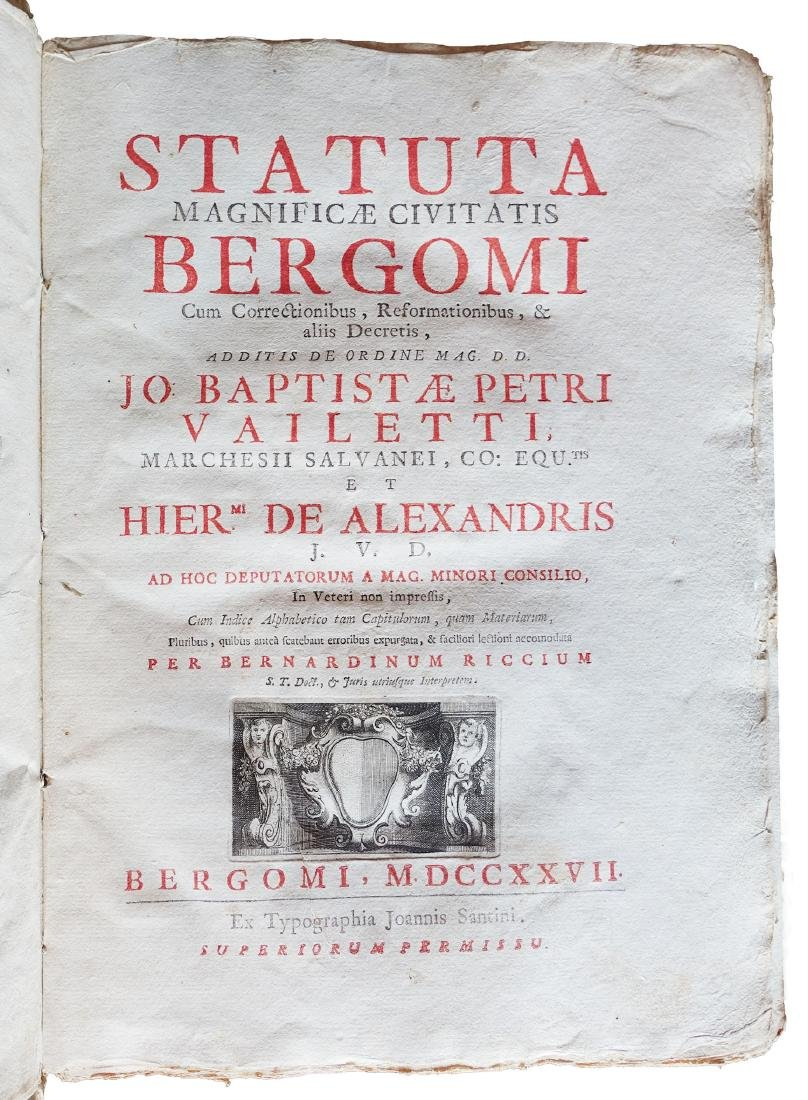 [Bergamo] Ricci, Statuta civitatis Bergomi, 1727