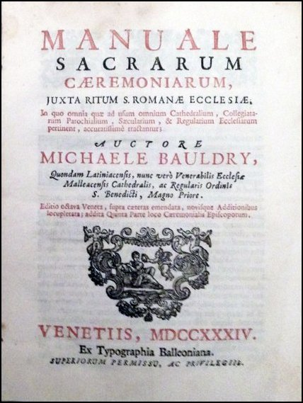 [Liturgy, Music] Bauldry, Manuale, 1734