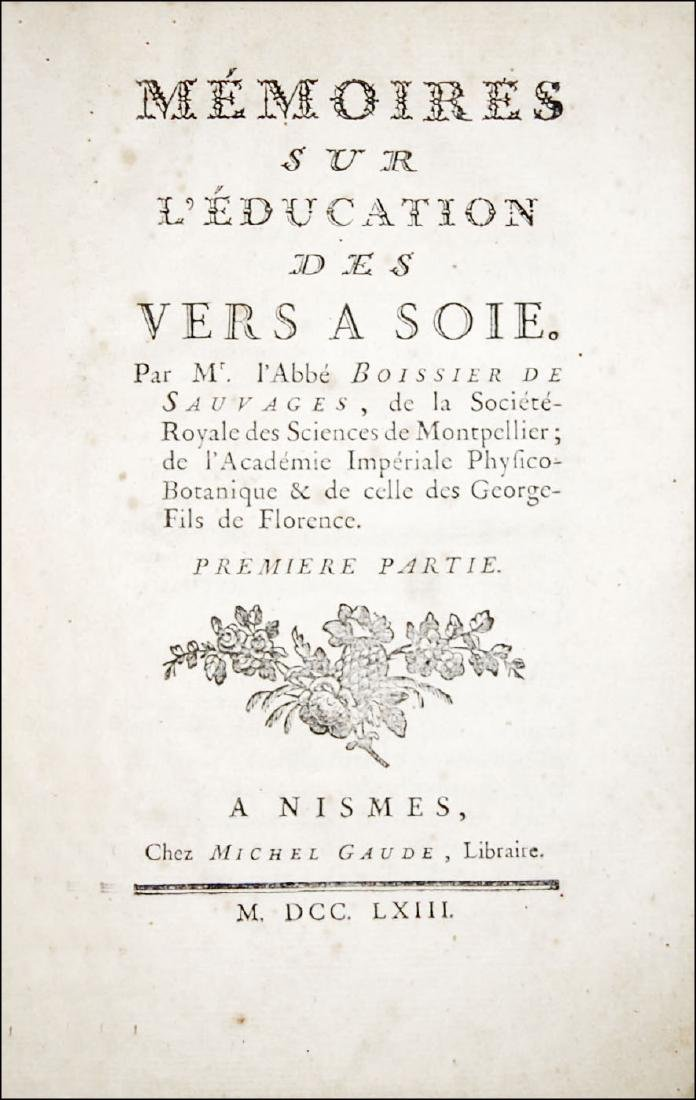 [Gastronomy, Honey, Silk] Boissier, Memoires, 1763