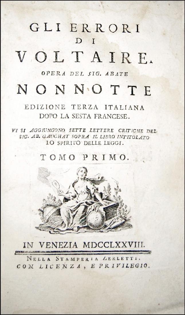 [Ethics, Jesuits] Nonnotte, Gli errori di Voltaire 1778
