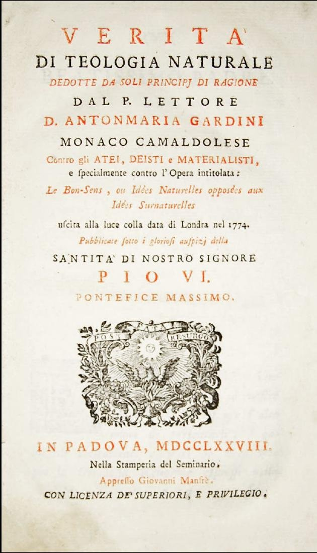 [Theology] Gardini, Verità di Teologia Naturale, 1778