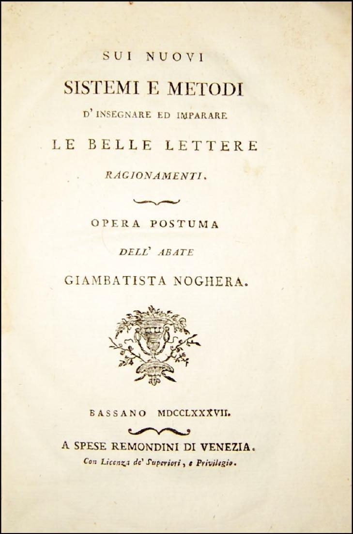 [Literature, Teaching] Noghera, Sui nuovi sistemi, 1787