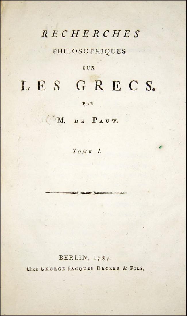 [Philosophy] De Pauw, Recherches philosophiques 1787 2v