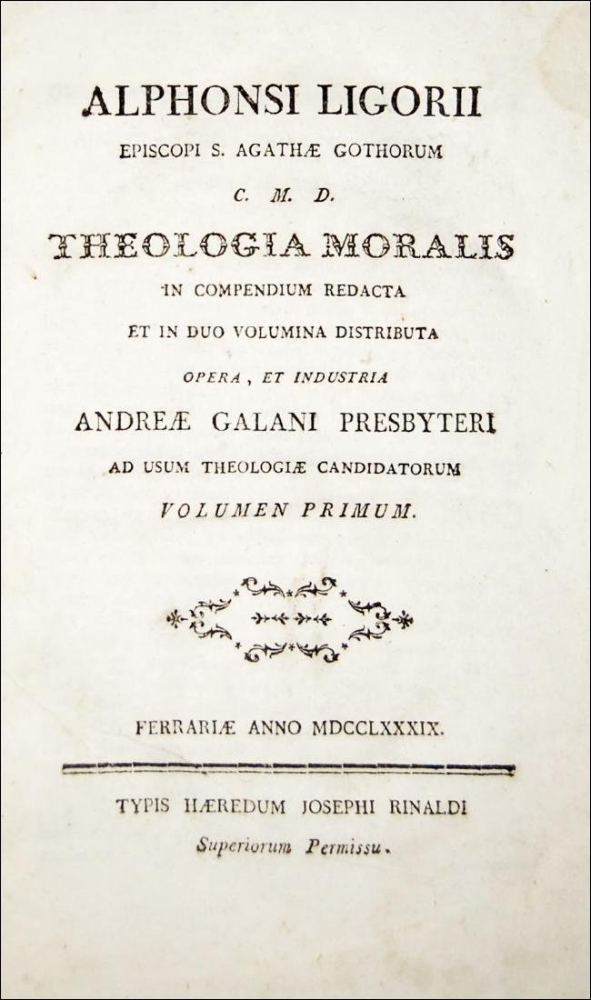 [Theology, Ethics] De Liguori, Theologia moralis, 1789