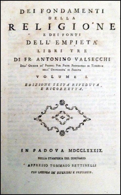 [Catholic Church, Doctrine] Valsecchi, 1789, 3 vols