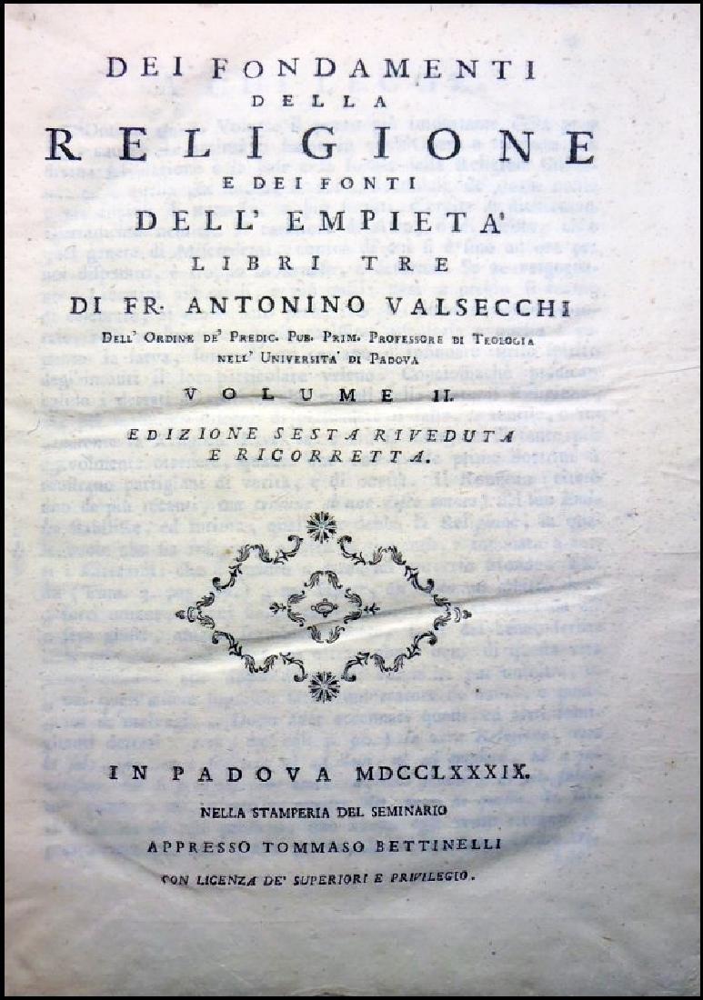 [Catholic Church, Doctrine] Valsecchi, 1789, 3 vols - 2
