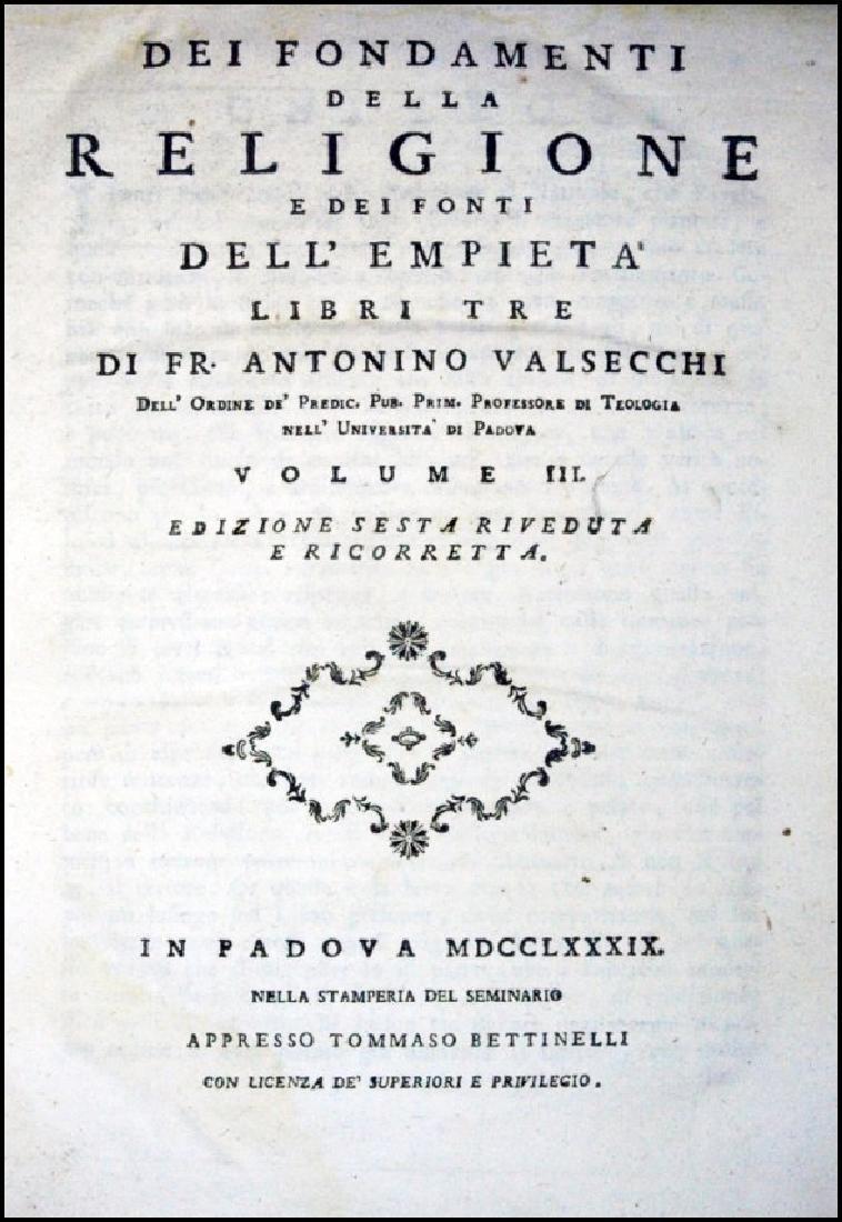 [Catholic Church, Doctrine] Valsecchi, 1789, 3 vols - 3