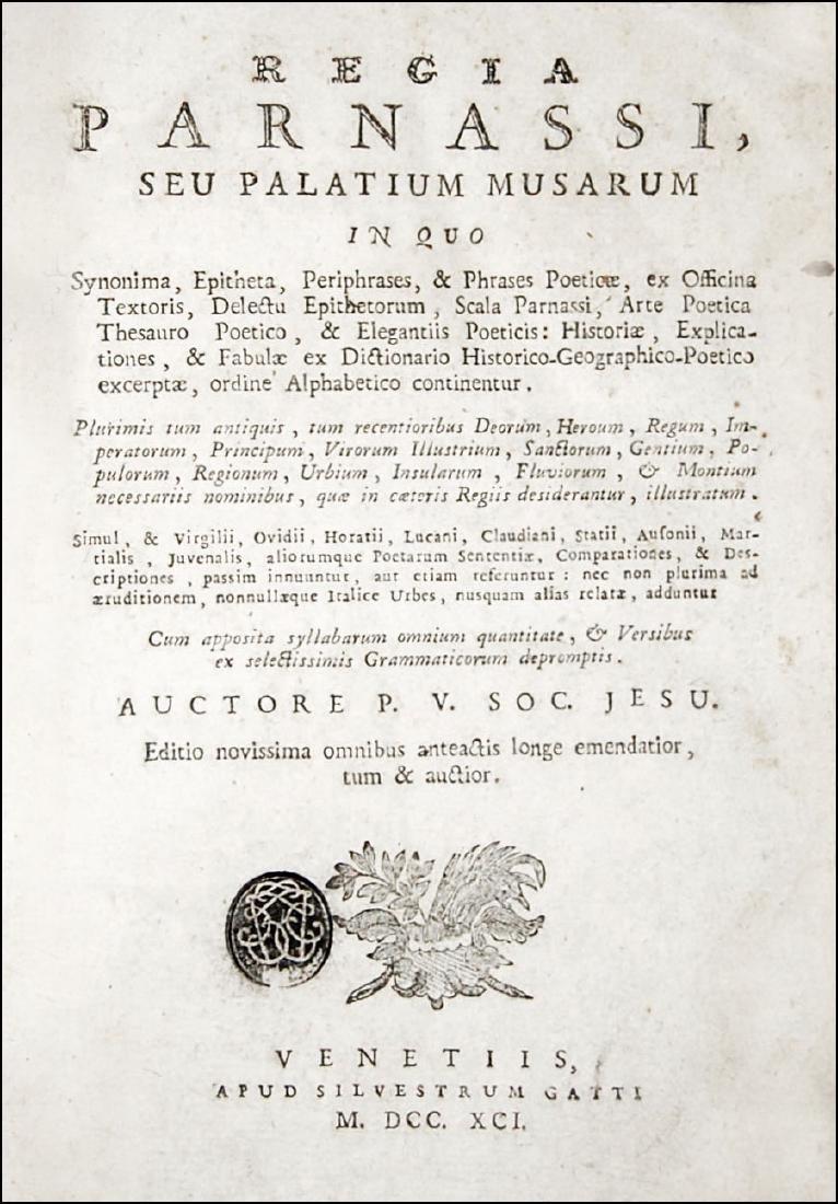 [Poetry, Dictionaries] Regia Parnassi, 1791