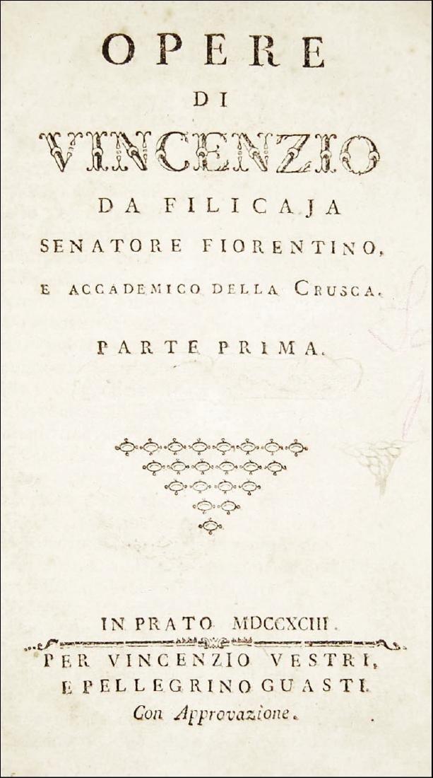 [Poetry, Tuscany] Filicaja, Opere, 1793