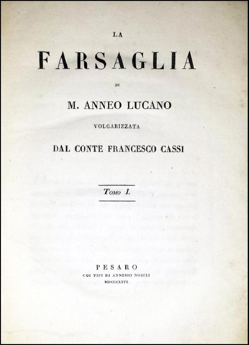 [Roman History, Pesaro imprint] Cassi, Farsaglia, 1826 - 2