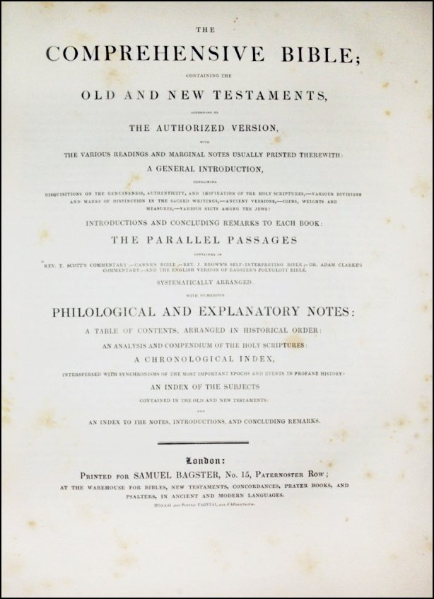 [Bible & Gospels] Bagster, The Comprehensive Bible 1827 - 2