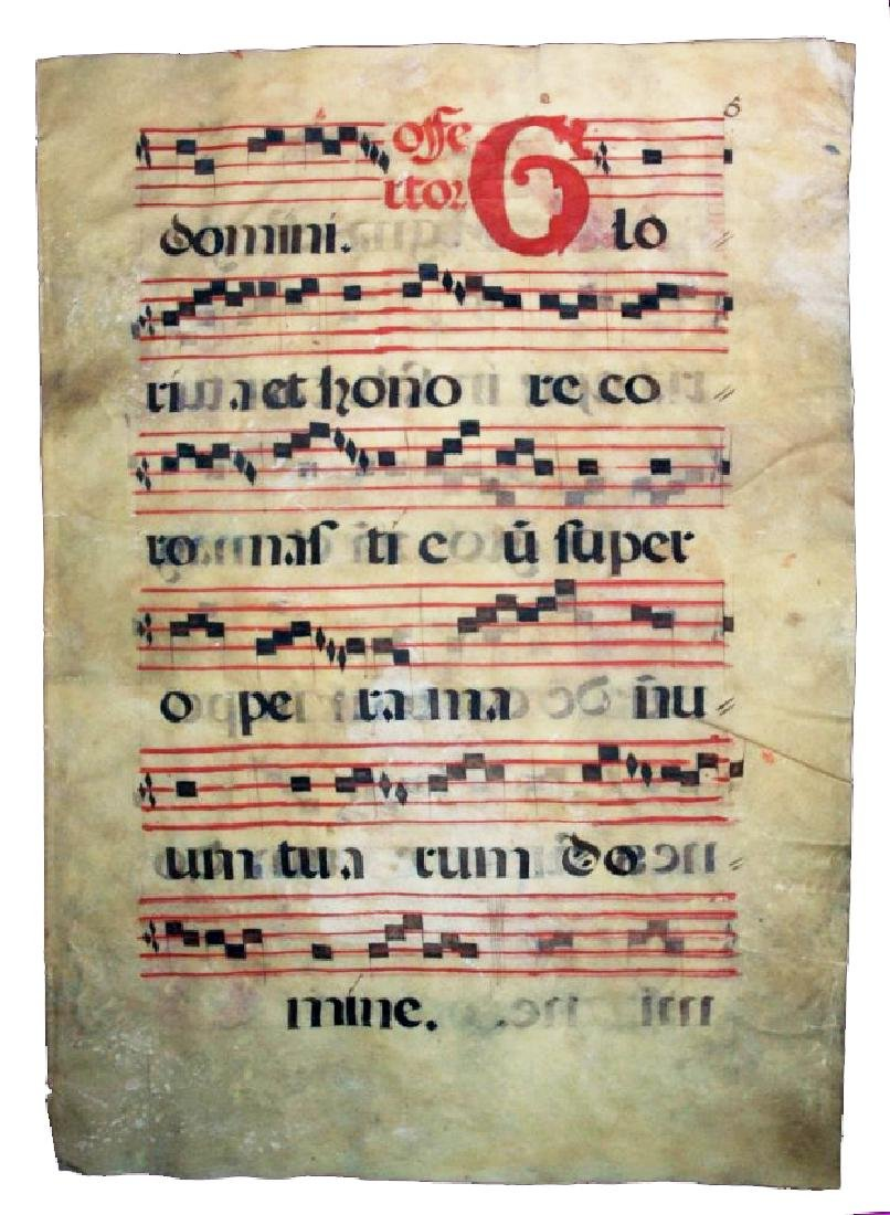 [Manuscripts] Antiphonary Bifolium, sec. XVI