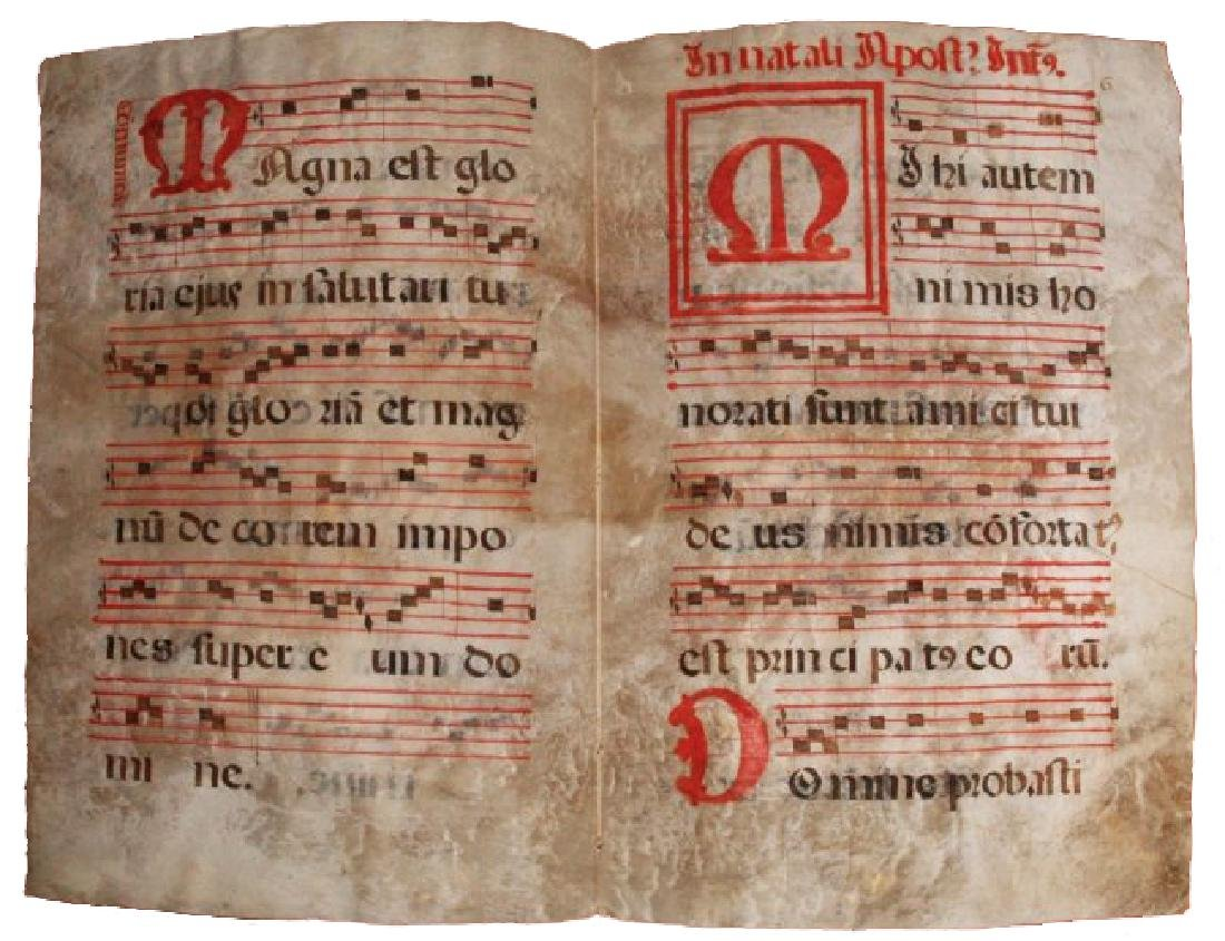 [Manuscripts] Antiphonary Bifolium, sec. XVI - 3