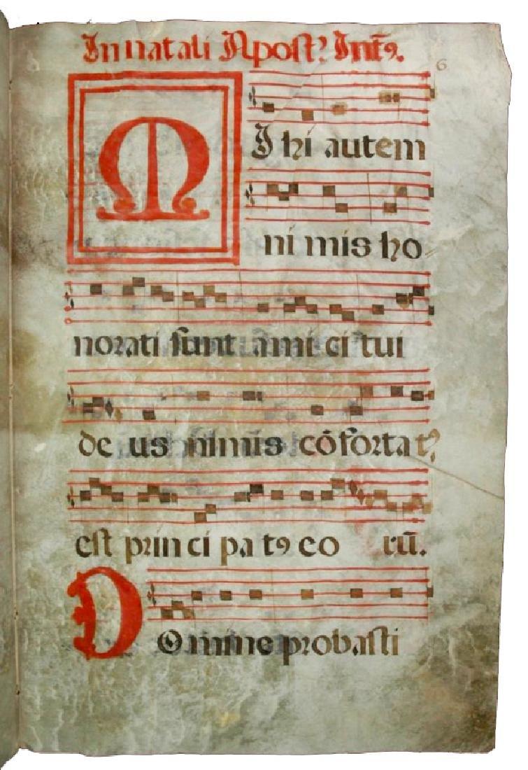 [Manuscripts] Antiphonary Bifolium, sec. XVI - 5