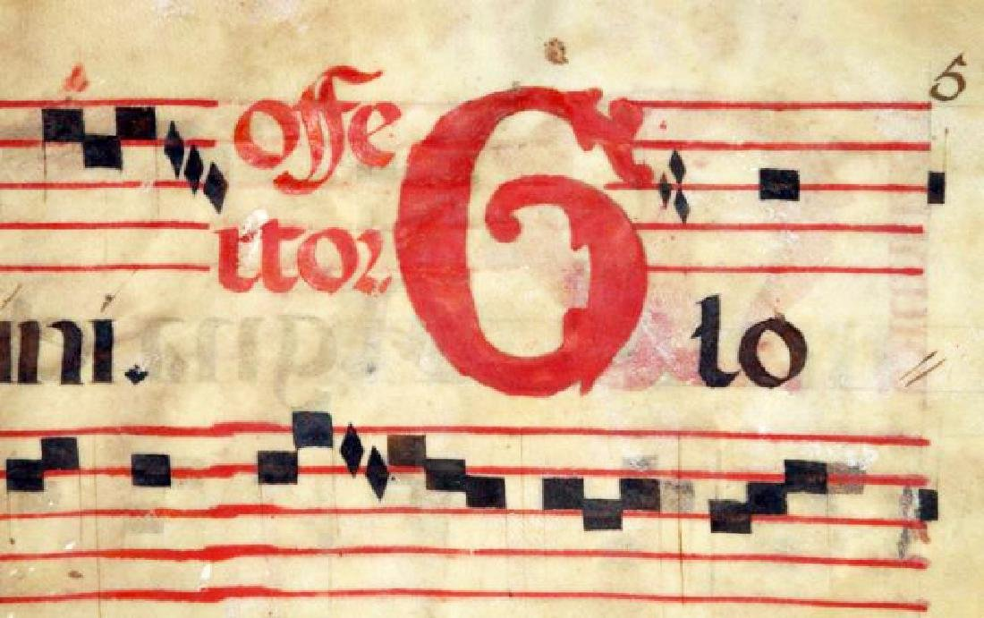 [Manuscripts] Antiphonary Bifolium, sec. XVI - 6