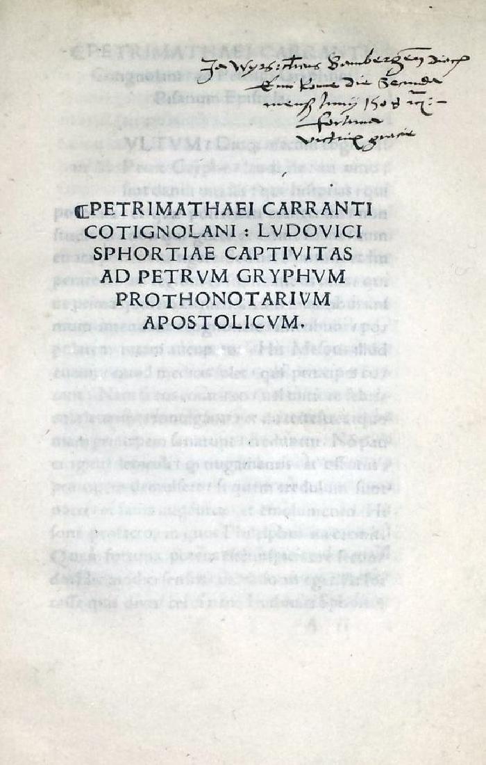 [Postincunable, Sforza] Carranto, 1507