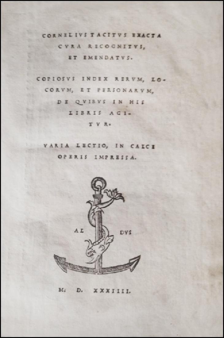 [Aldine, Roman History] Tacitus, 1534 - 2