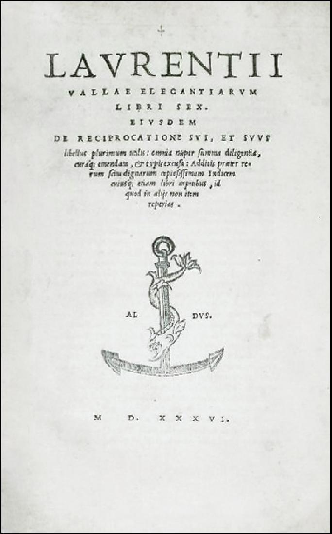 [Aldine, Latin Language] Valla, 1536