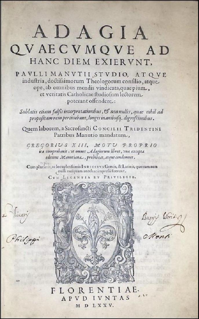 [Erasmus, Adages, Aldus] Manuzio, Adagia, 1575