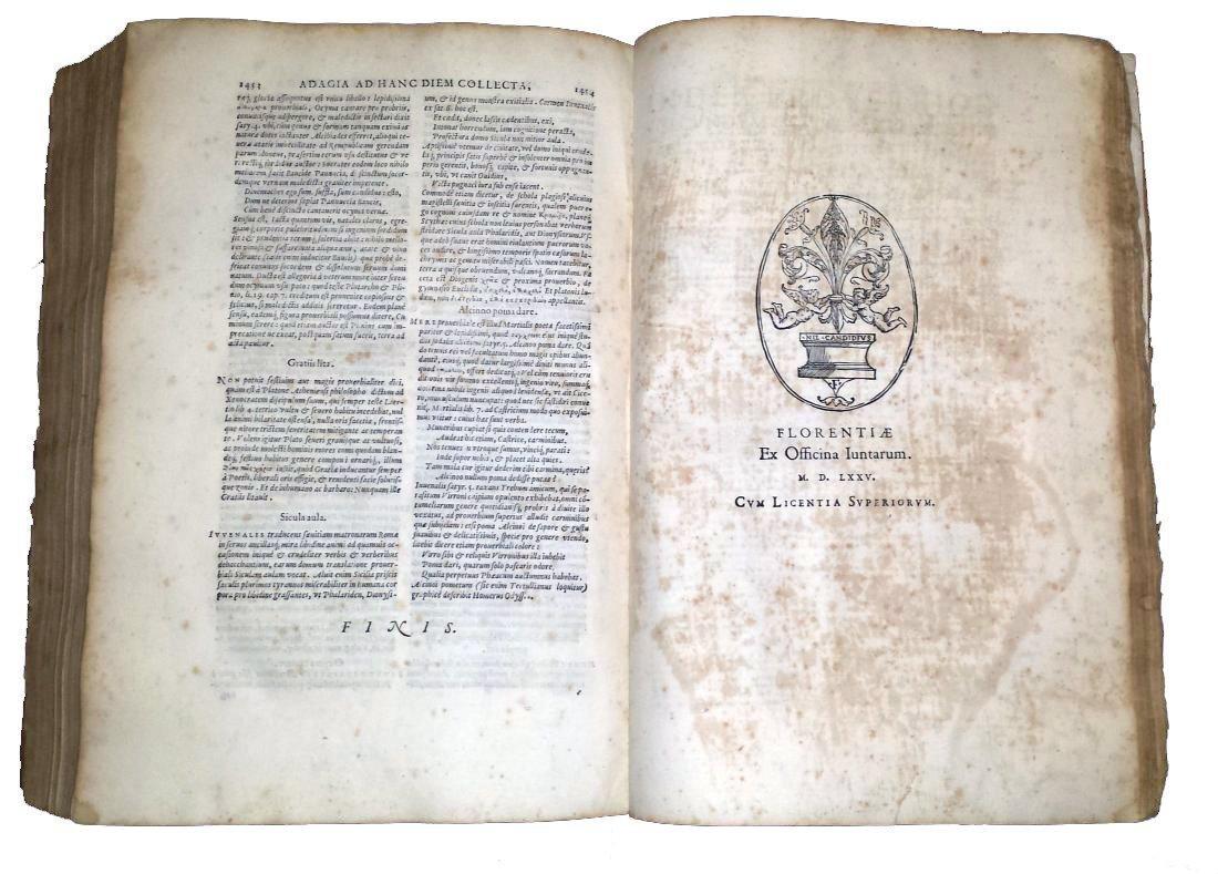 [Erasmus, Adages, Aldus] Manuzio, Adagia, 1575 - 6