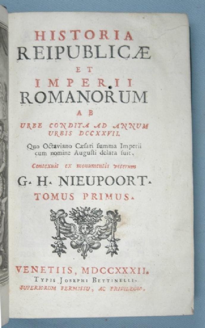 [Roman History, Binding] Nieupoort, 1732, 2 vols - 3
