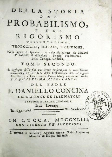 [Probabilism] Concina, 1743, 2 vols - 3