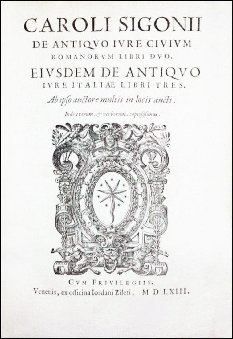 [Ancient Law in Rome & Italy] Sigonio, 1562-63