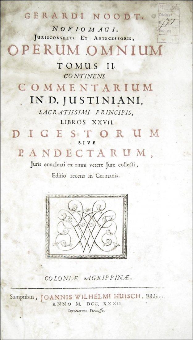 [Roman Law] Noodt, Opera omnia, 1732