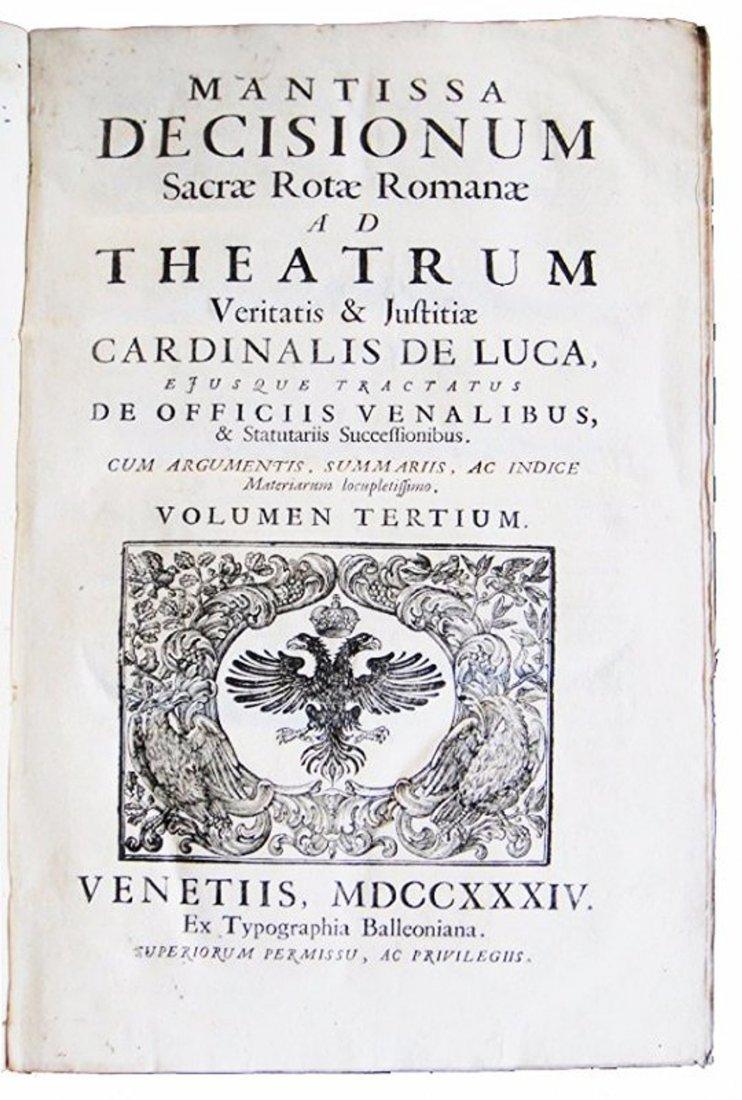 [Canon Law, Roman Rota] De Luca, Decisiones, 1734  2 v
