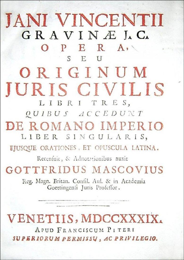 [Roman Law, History] Gravina, Opera, 1739