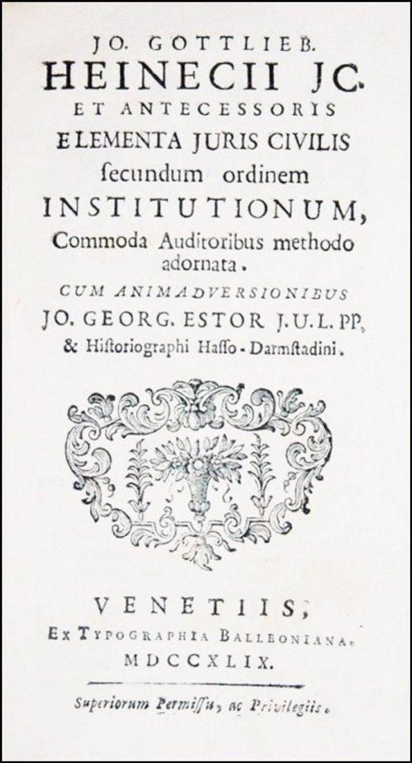 [Roman Law] Heinecke, 1749-1831, 3 vols