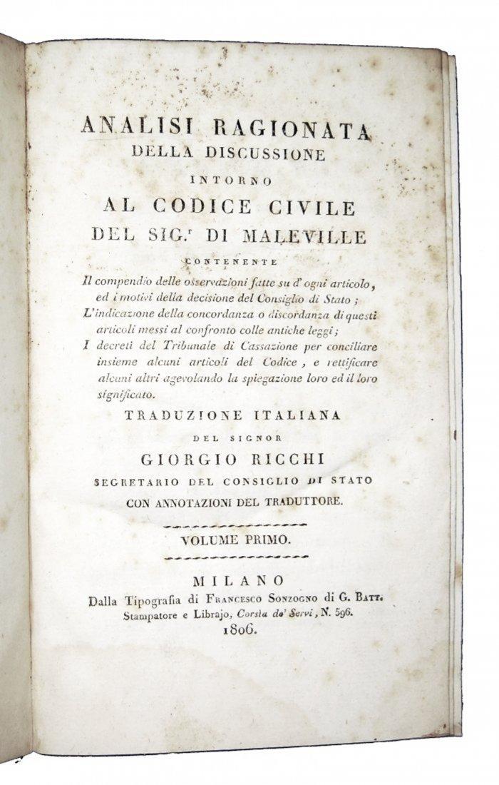 [Civil Code] Maleville, Analisi ragionata, 1806-9, 4 v.
