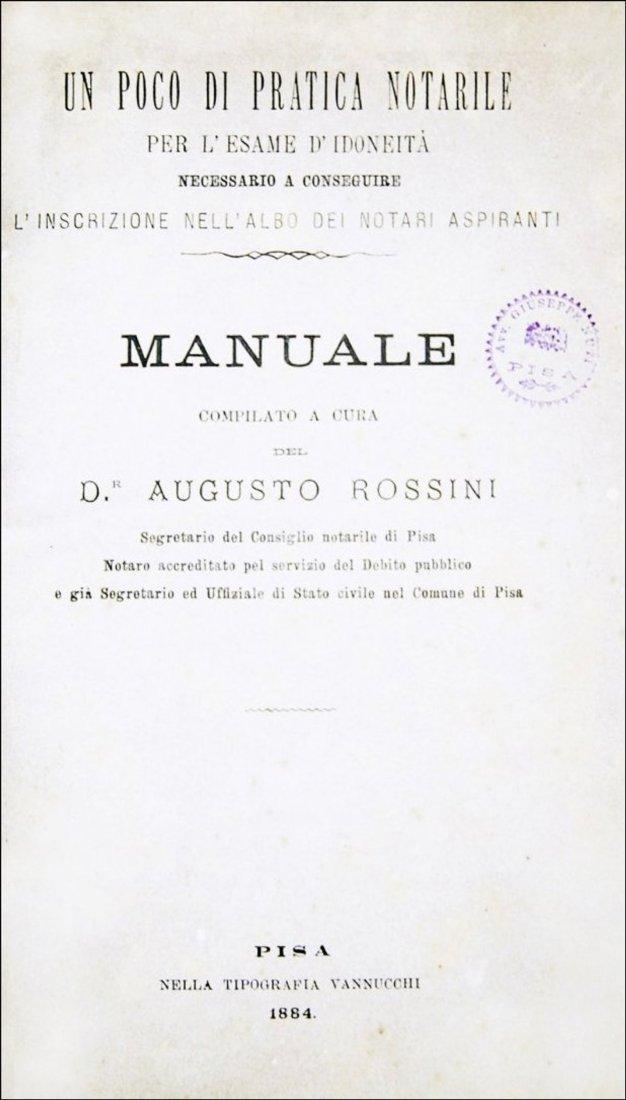 [Notary] Rossini, Manuale di pratica notarile, 1884