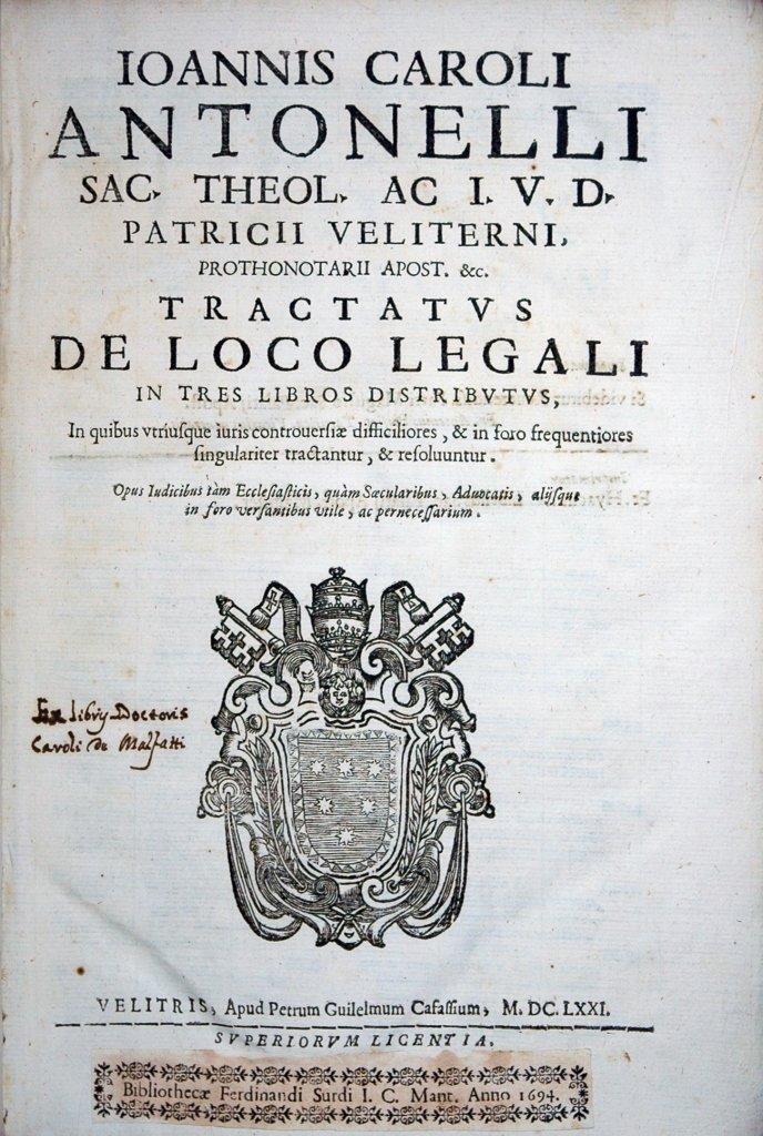 Antonelli, De Loco Legali, 1671