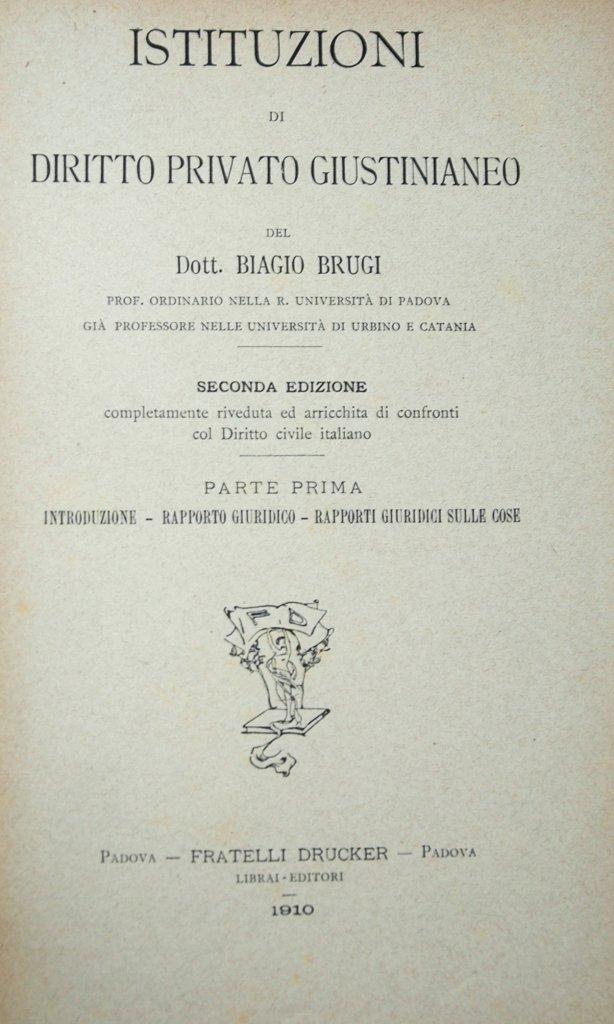 Brugi, Diritto Privato Giustinianeo, 1910