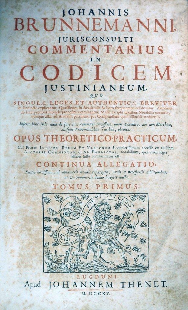 Brunnemann, Commentarius in Codicem Justinianeum, 1714