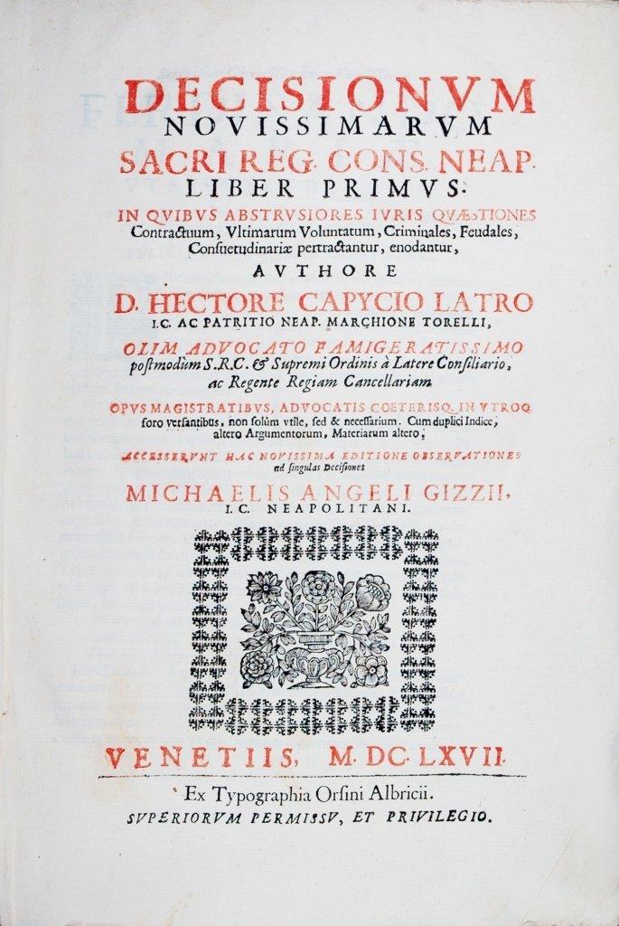 Capecelatro, Decisiones Neapolitanae, 1667