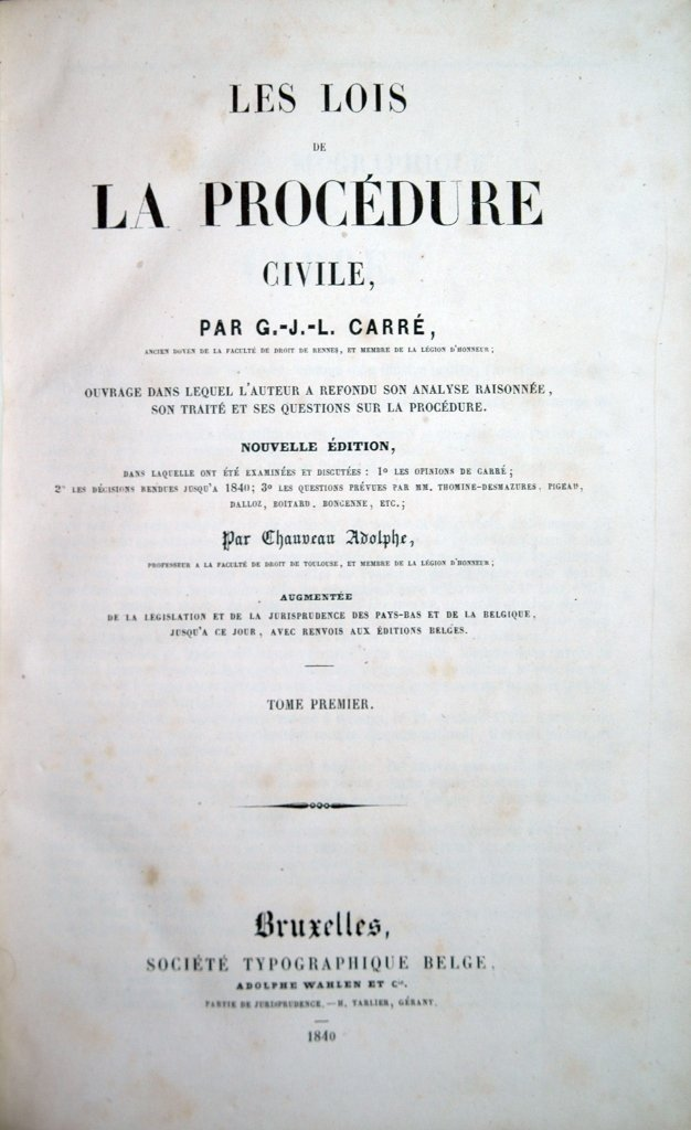 Carré, Lois de la procédure civile, 1840