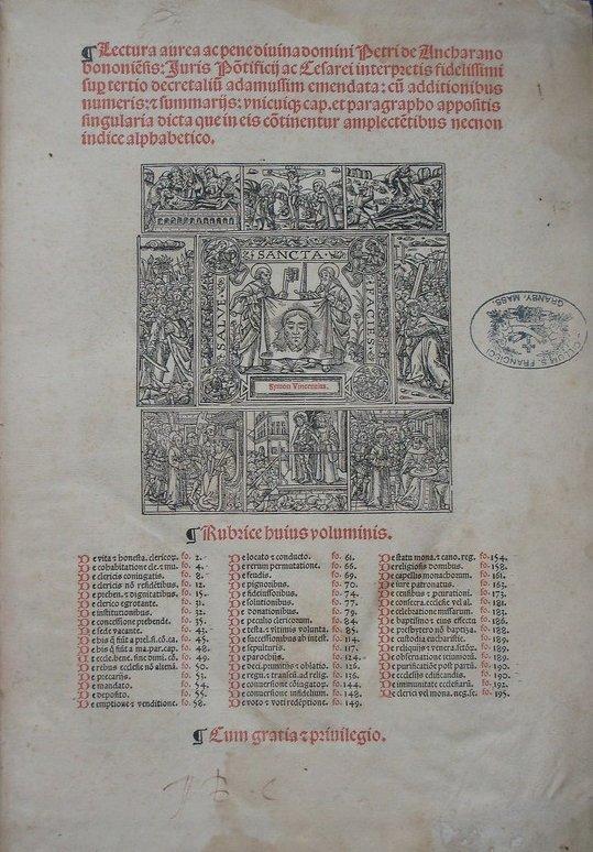 (Canon Law) Ancharanus, Lectura aurea, 1519