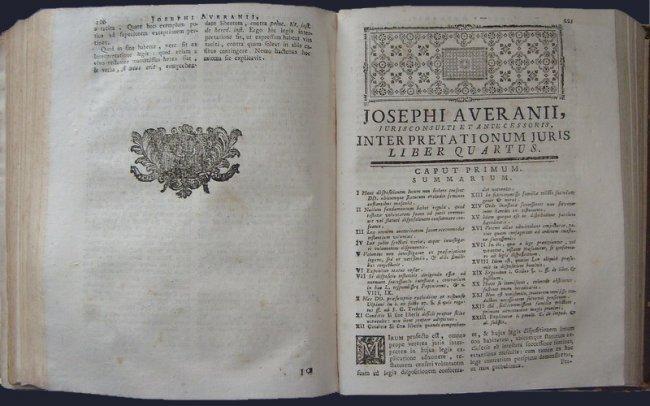 (Roman Law) Averani, Interpretationum iuris. 1777