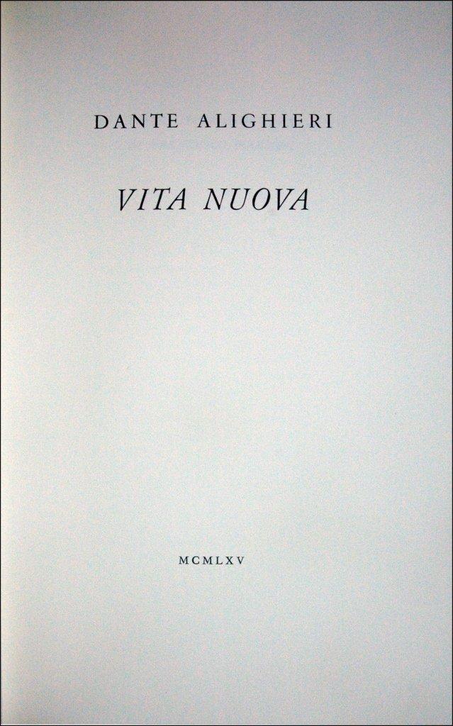 (Tallone) Alighieri, Vita nuova, 1965