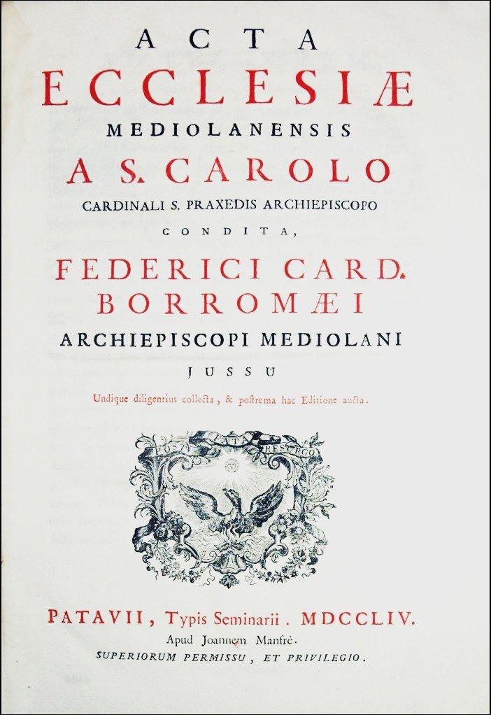 [Canon Law] Acta Mediolanensis 1754, 2 vols