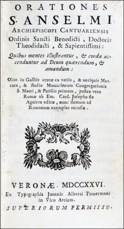 [Scholasticism, Speeches] Anselm of Canterbury, 1726