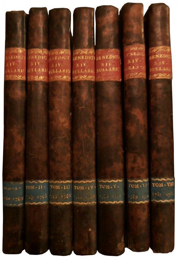 [Canon Law, Bull] Benedict XIV, Bullarium, 1777, 7 vols