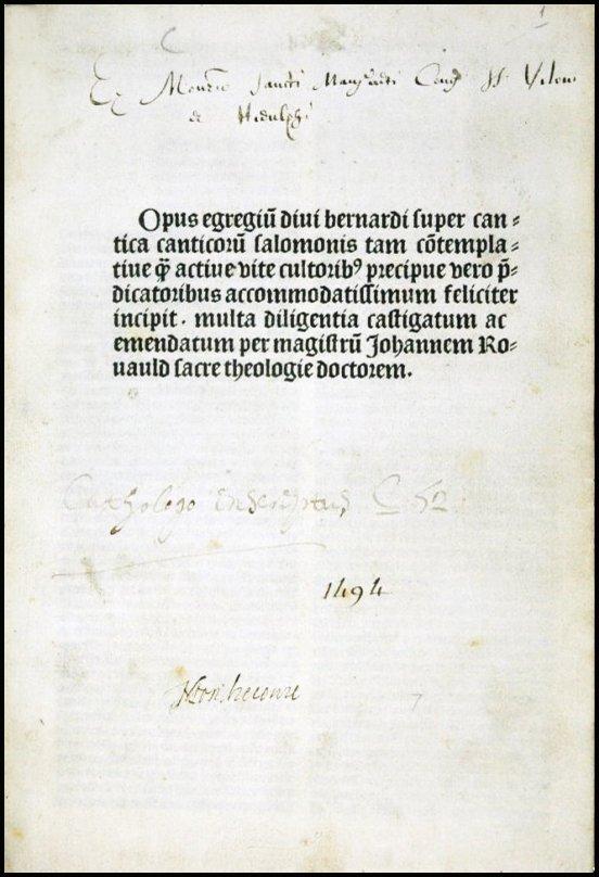 [Incunable, Song of Songs] St. Bernard, Paris, 1494