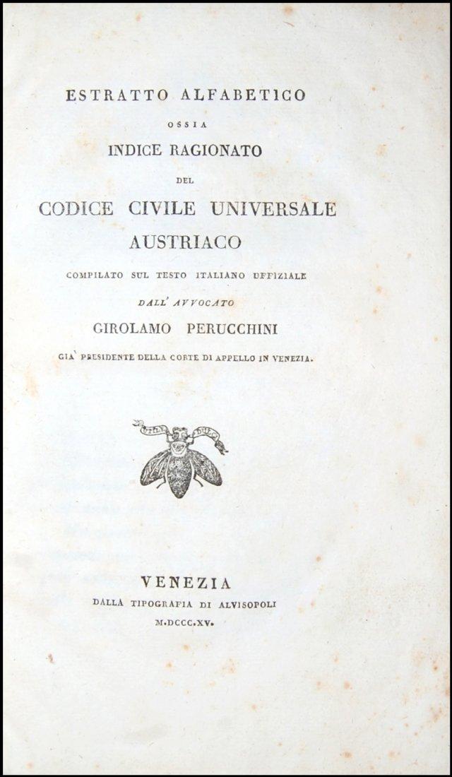 [Austria, Civil Code] Indice ragionato, 1815
